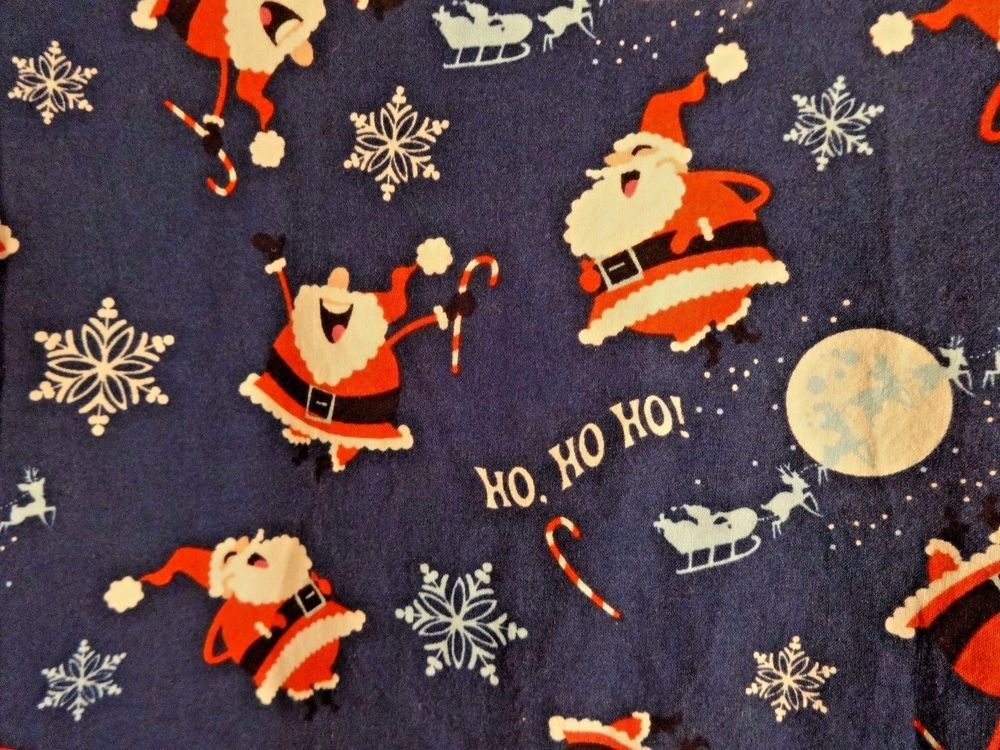 scrubs s top small blue christmas santa snowflakes ho ho ho 2 pockets all heart - Santa Hohoho 2