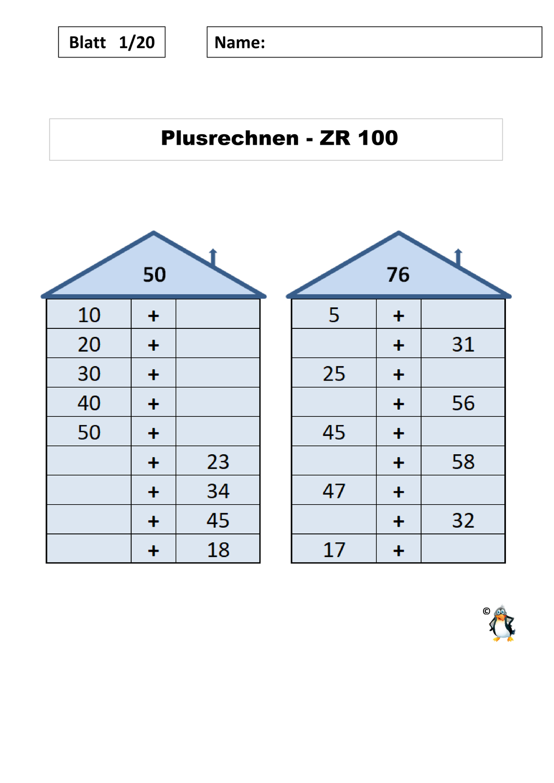 20 Arbeitsblätter Rechenhäuser Plus/Minus ZR 20/mit Lösung ...