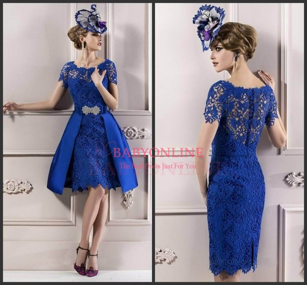 Sexy royal blue short sleeves lace formal short evening dresses for