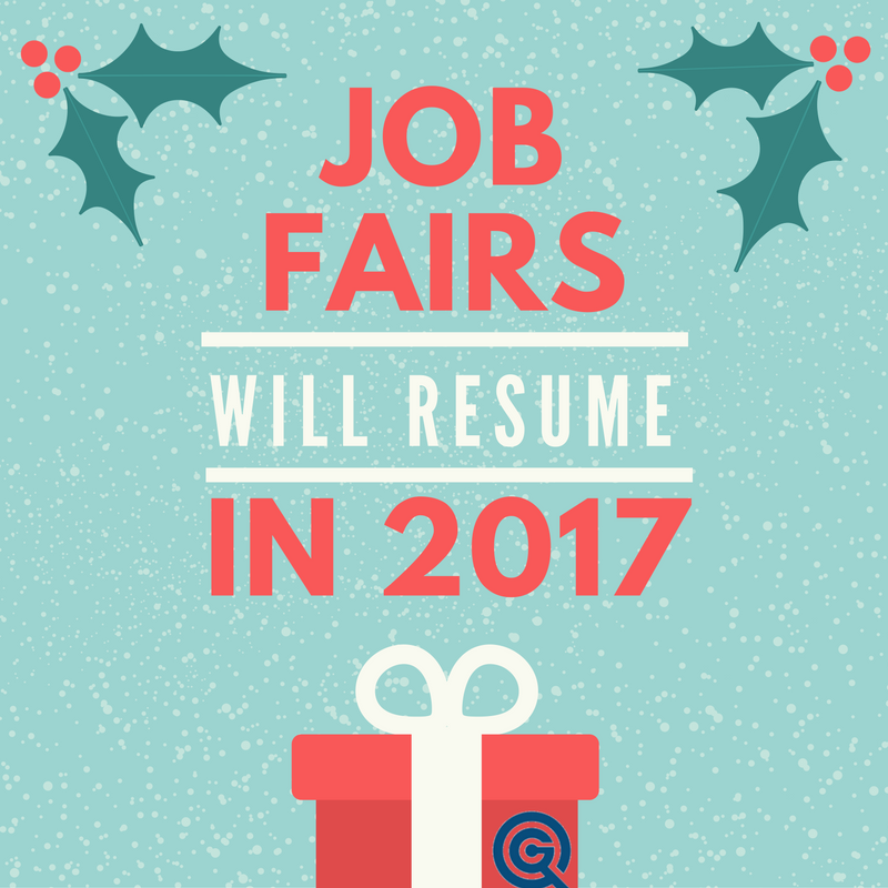 The holidays are busy. Take a much-needed rest from your #jobsearch and look for our job fair again on Jan. 5!