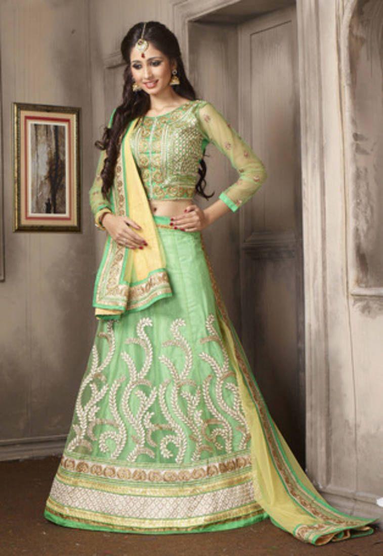 3bc2882772 Flamboyant bud green trendy lehenga choli | Punjabi Lehengas ...