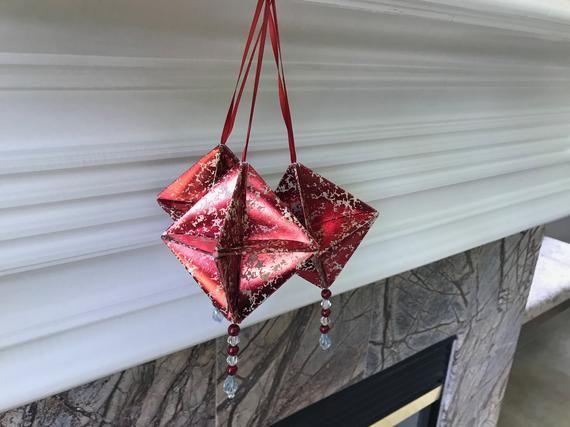 Photo of Rote Origami-Ornamente – Quecksilberglas Papier-Weihnachtsdekorationen – Origami-Weihnachtsornamente – Origami-Dekorationen – Papierornamente