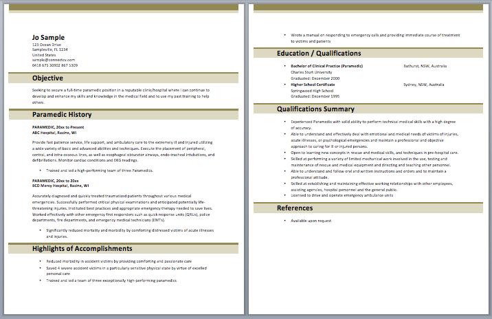 Paramedic Resume Sample Templates Nursing Pdf Critical Care