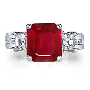 Angara Emerald-Cut Ruby and Diamond Three Stone Ring in Platinum 8l1hEt