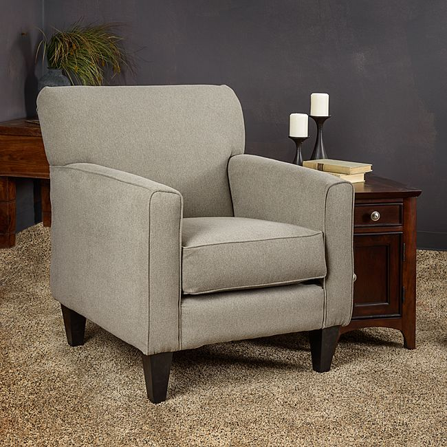 somette eli grey solid fabric track arm accent club chair by