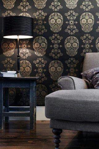 #wohnzimmer #tapete #schwarz #gold #totenkopf