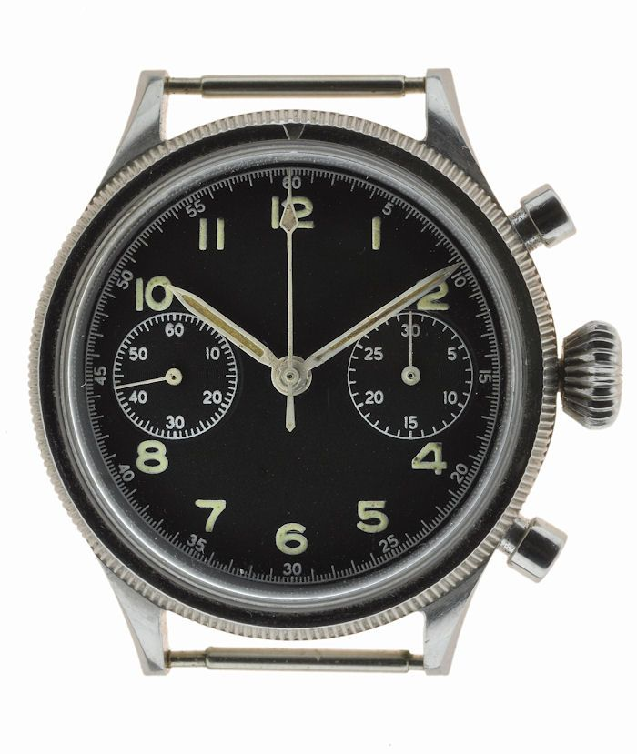 "Breguet Type 20 French military watch c. 1954.  Valjoux caliber 222 with flyback ""retour en vol."""