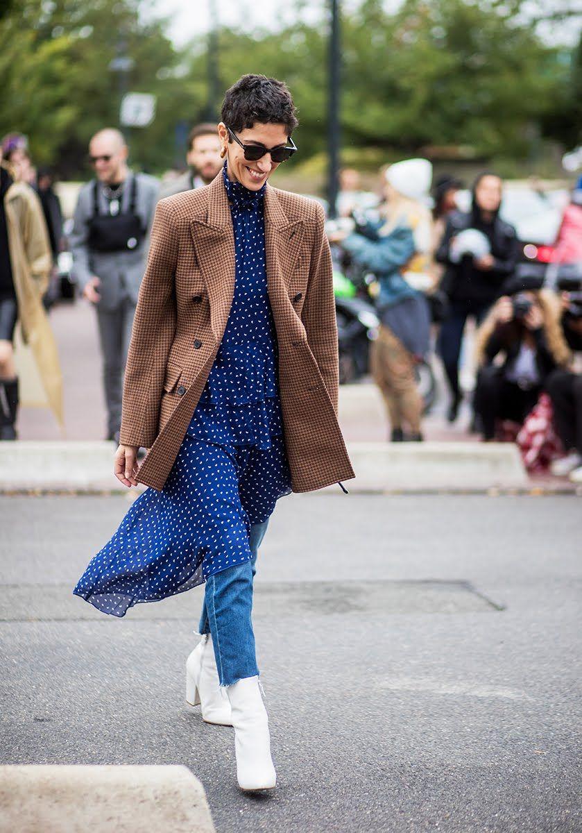Paris Fashion Week Street Style Spring 2018 Yasmin Sewell Sandy Liang Dress Checked Blazer White Boots