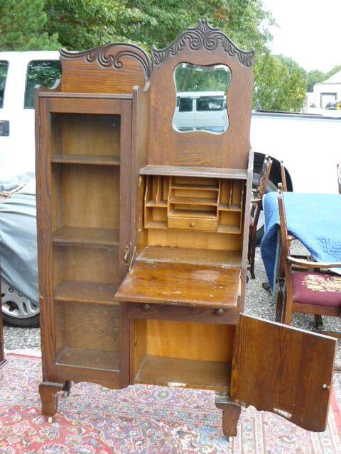 Antique 19c Oak Side by Side Bookcase Desk Secretary by Larkin of Buffalo NY - Antique 19c Oak Side By Side Bookcase Desk Secretary By Larkin Of