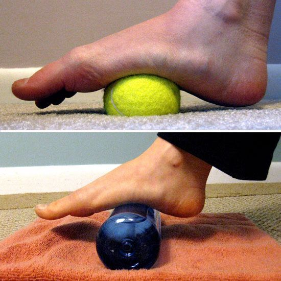 5 tips for runner's feet relief! 1. grab a tennis ball for a self-massage, 2. trim your toenails, 3. exfoliate dry skin, 4. stretch the soles of your feet, and 5. ease inflammation by applying pressure to the arch of the foot with a bottle of ice-water
