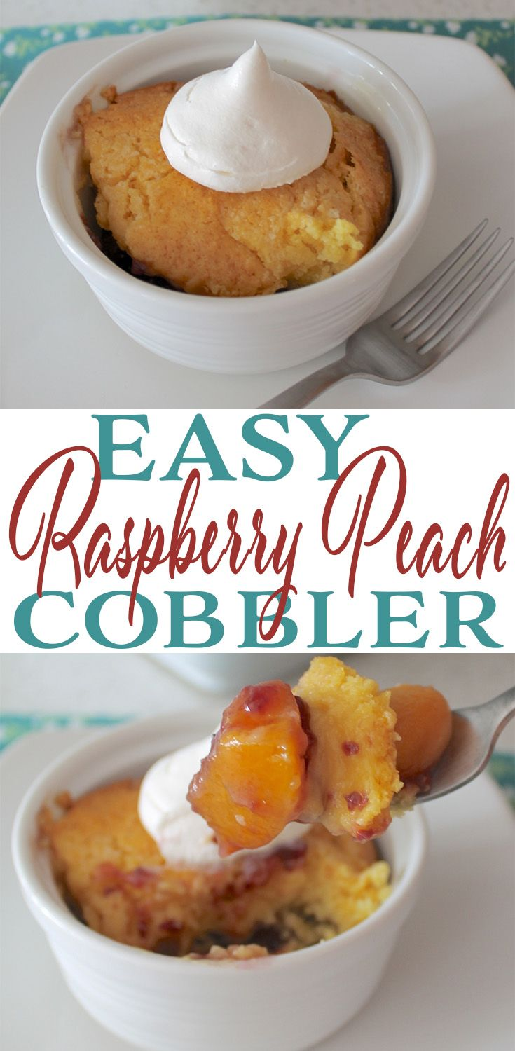 Easy Raspberry Peach Cobbler #peachcobblercheesecake