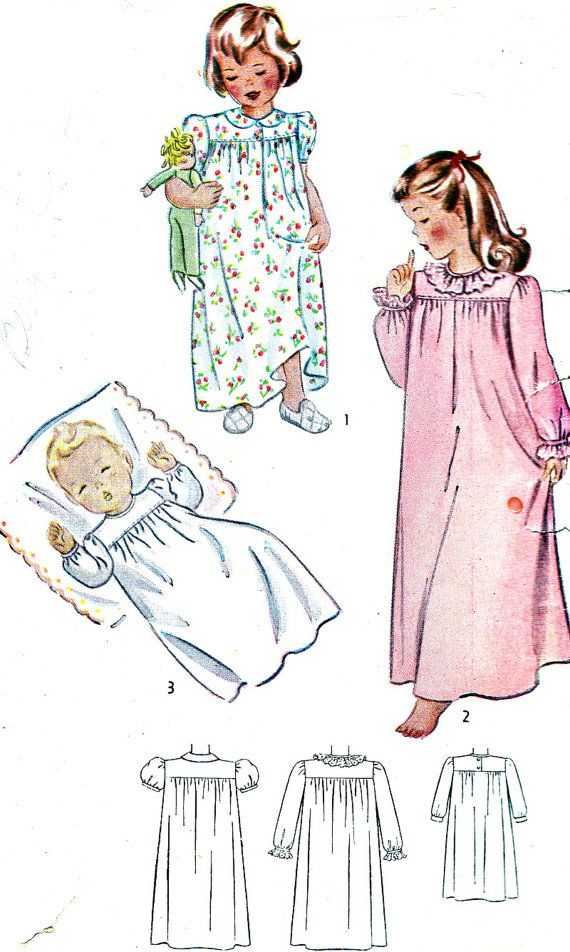 4a274745fd 1940s Girls Nightgown Pattern Simplicity 1956 by paneenjerez