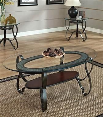 Best Ingo Cherry Wood Glass Metal 3Pc Coffee End Table Set 640 x 480