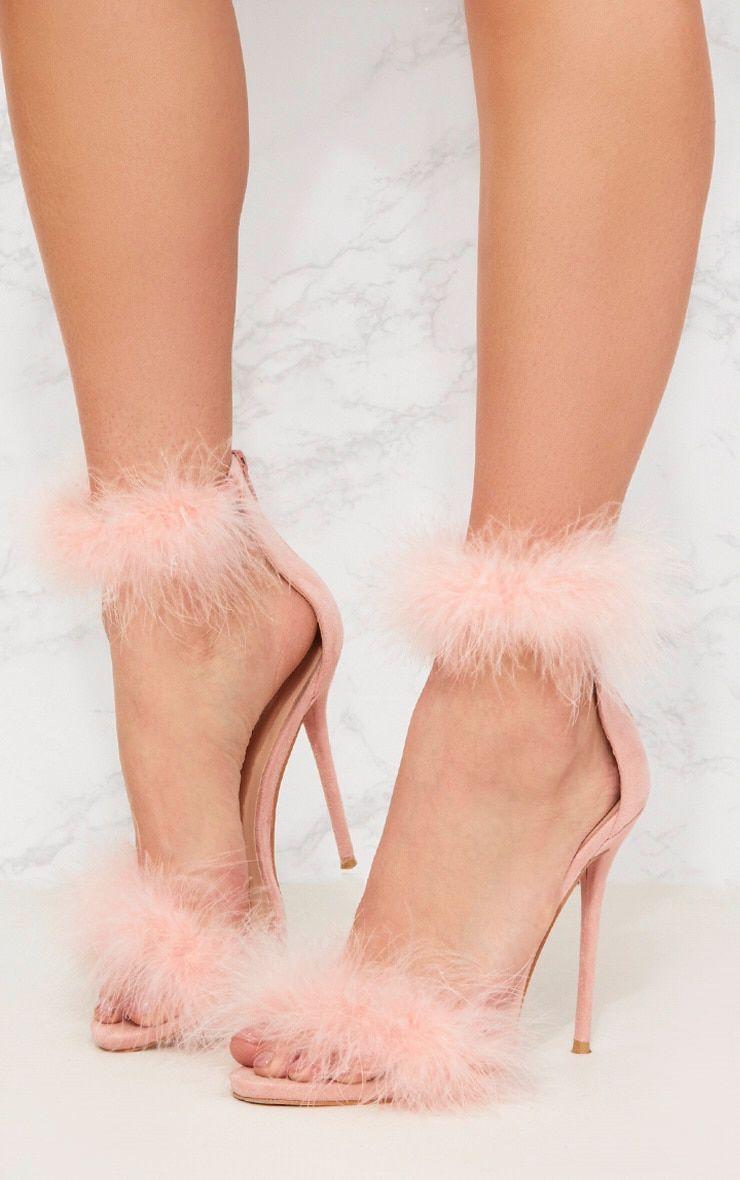 47026c5cbbbc Pink Feather Strap Heels