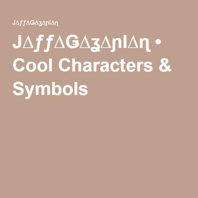 Cool Characters Symbols Character Symbols Symbols And Free Graphics