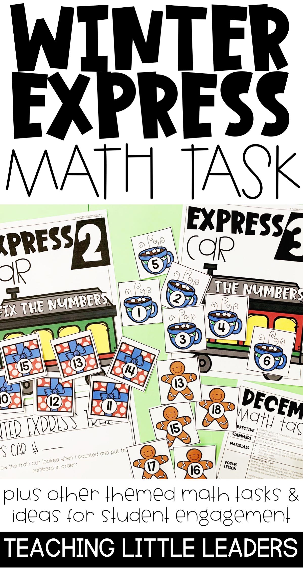 Winter Polar Express Math Workshop Lesson For