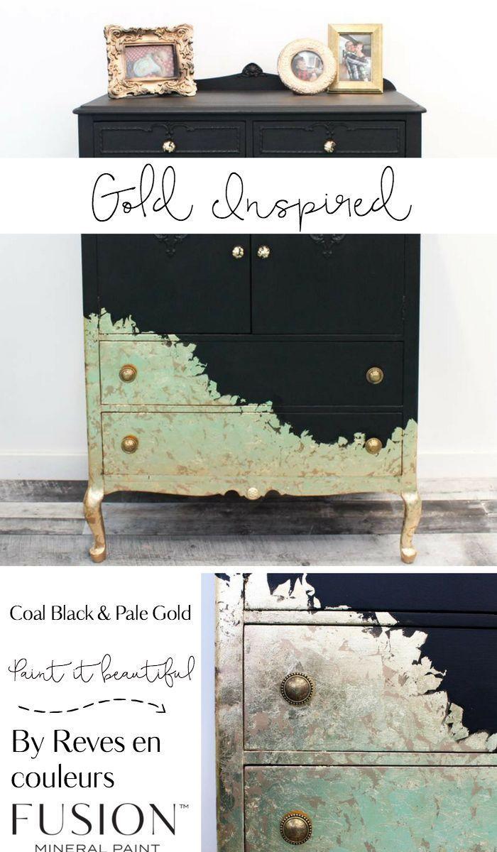 Nuances Par Reves En Couleurs Dresser Furniture Upcycled Antique Meuble Black Gold Mobilier Recycle Meubles Peints Metalliques Et Refaire Les Meubles