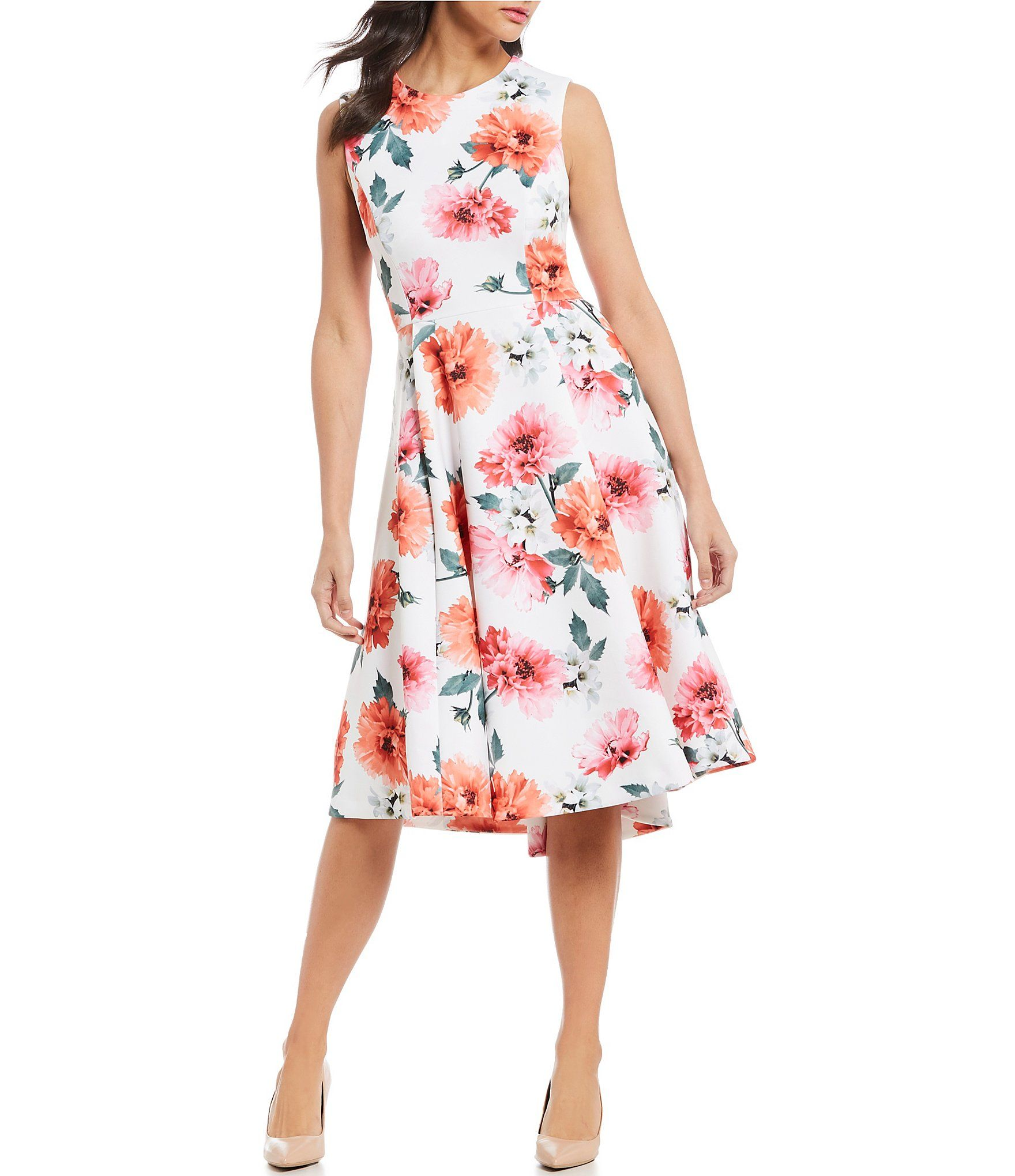 Calvin Klein Floral Print Hi Low Sleeveless Midi Dress