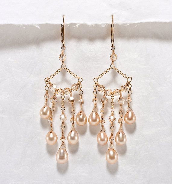 c88f694ae9a34 Bridal Chandelier Earrings, Champagne Wedding Jewelry, Crystal ...