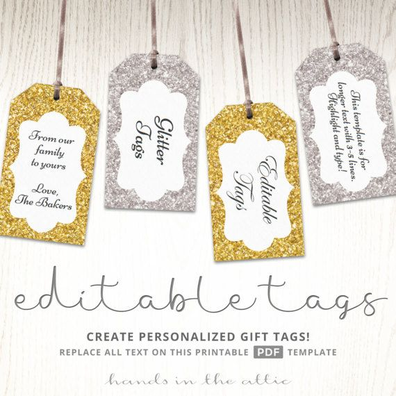 glitter gift tags gold silver printable editable template