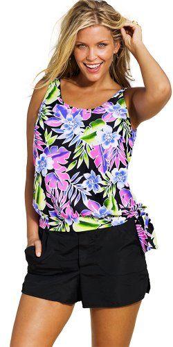 2cee1543be Beach Belle Womens Plus Size Blouson Cargo Shortini 18 Multi -- Amazon most  trusted e-retailer  MaternitySwimwear