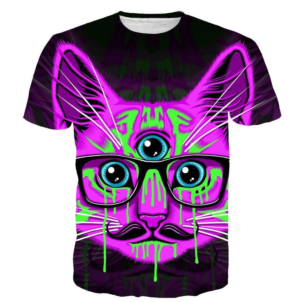 Third Eye Spiritual Chakra Psychedelic Funny Graffiti Cat T-Shirt  #ThirdEye #Spiritual #Chakra #Psychedelic #Funny #Graffiti #Cat #T-Shirt