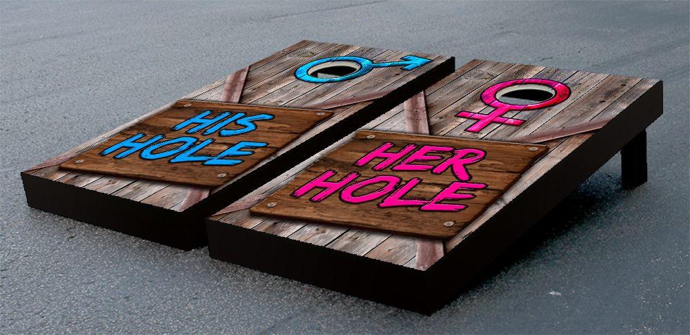 his hole her hole wooden sign cornhole game set pinterest - Corn Hole Sets