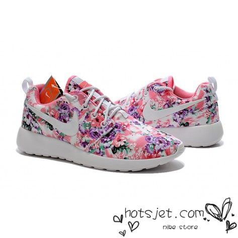 new arrival 00990 ffbcd Nike Roshe Run Painted Pink Purple Green Floral White Womens