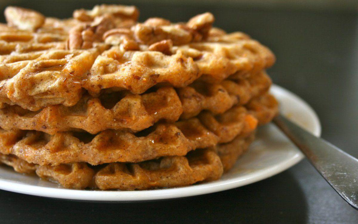 Chaispiced sweet potato waffles vegan sweet potato