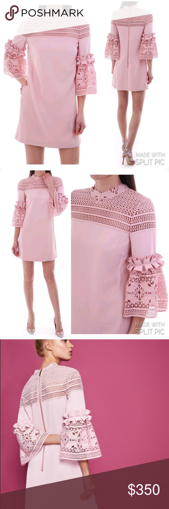 f6580532e TED BAKER LUCILA Lace bell sleeved tunic dress Embrace a touch of texture  this season