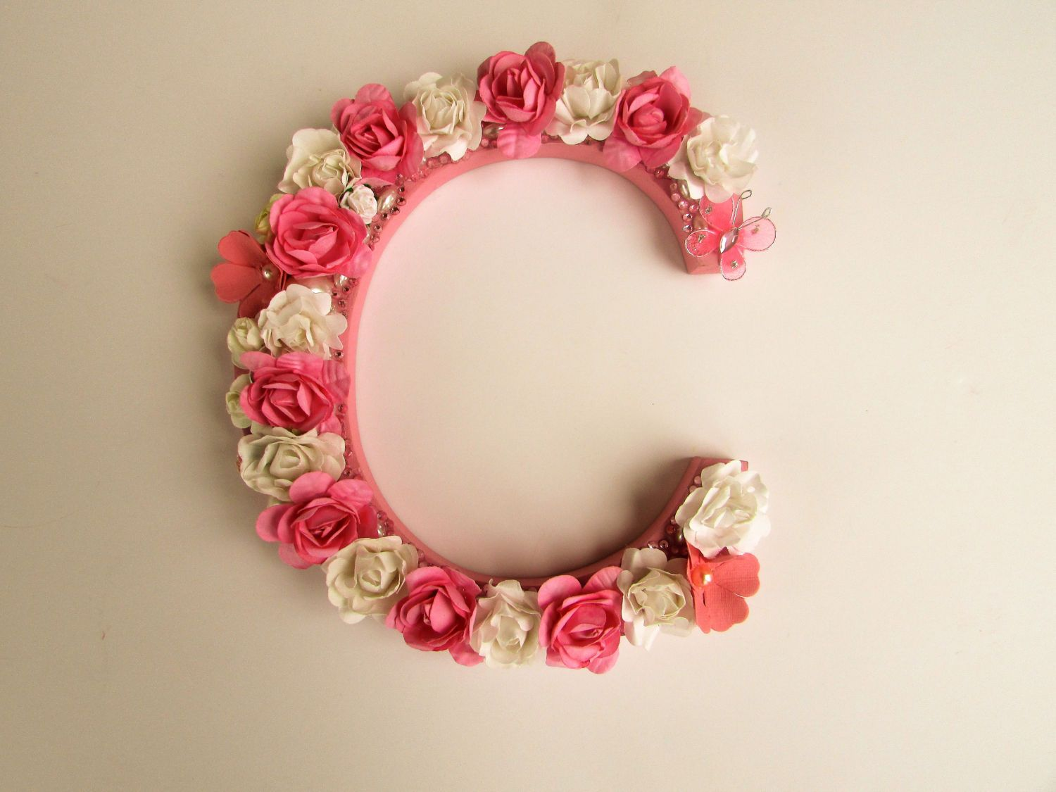 Letter C For Wall Custom Name Letter  Flower Name Letter  Pink Letter C  Birthday