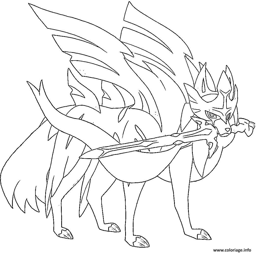 Coloriage Zacian Lame Brillante Pokemon Legendaire à imprimer