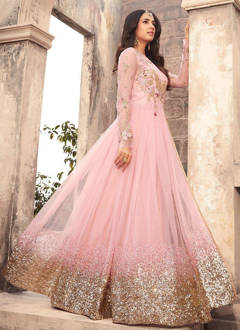 Wedding decorations stage backdrops october 2018 Light Pink Embroidered Net Anarkali Suit  Anarkali suits and Anarkali