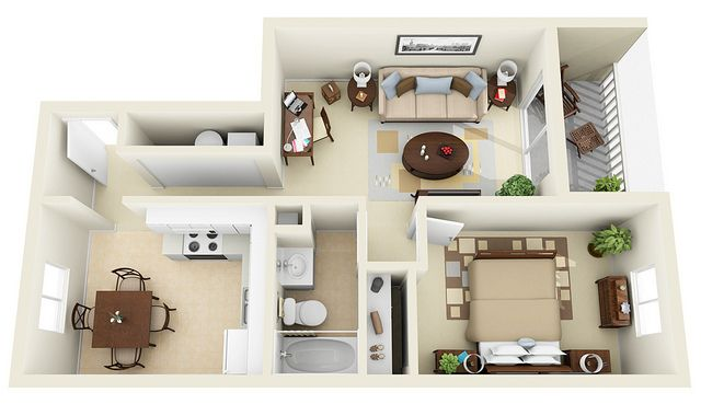 1 1 3d Floor Plan Apartment Layout House Plans One Bedroom House