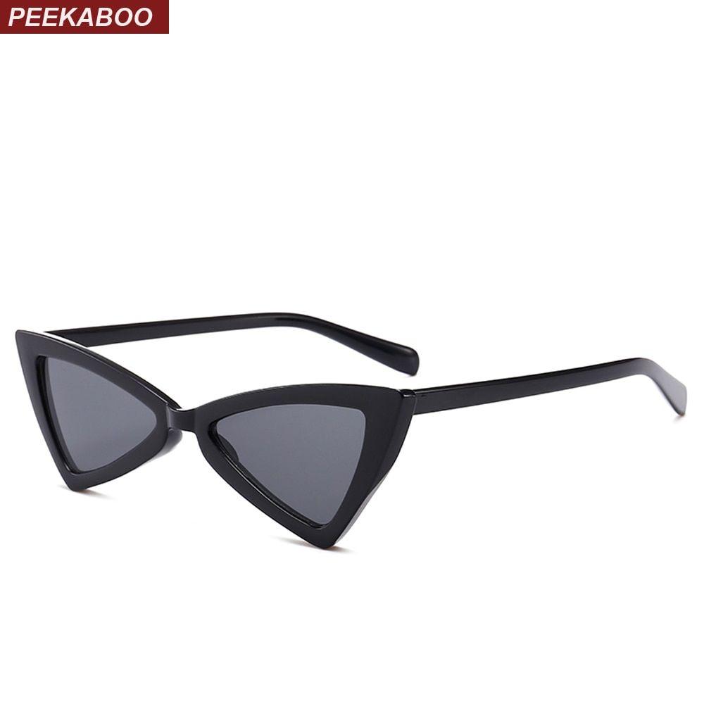07284e9b21 Peekaboo red triangle sunglasses women cat eye vintage black leopard cheap  butterfly sun glasses female new year gift 2018