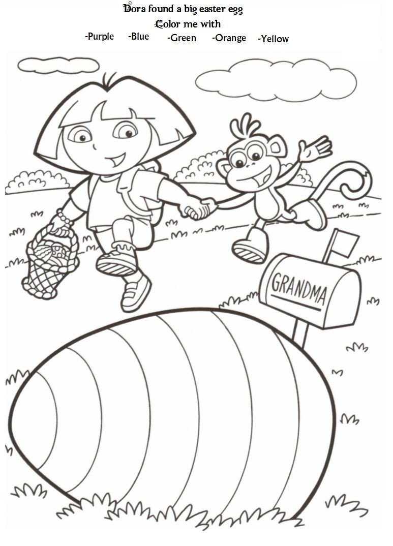 Easter Dora Coloring Page