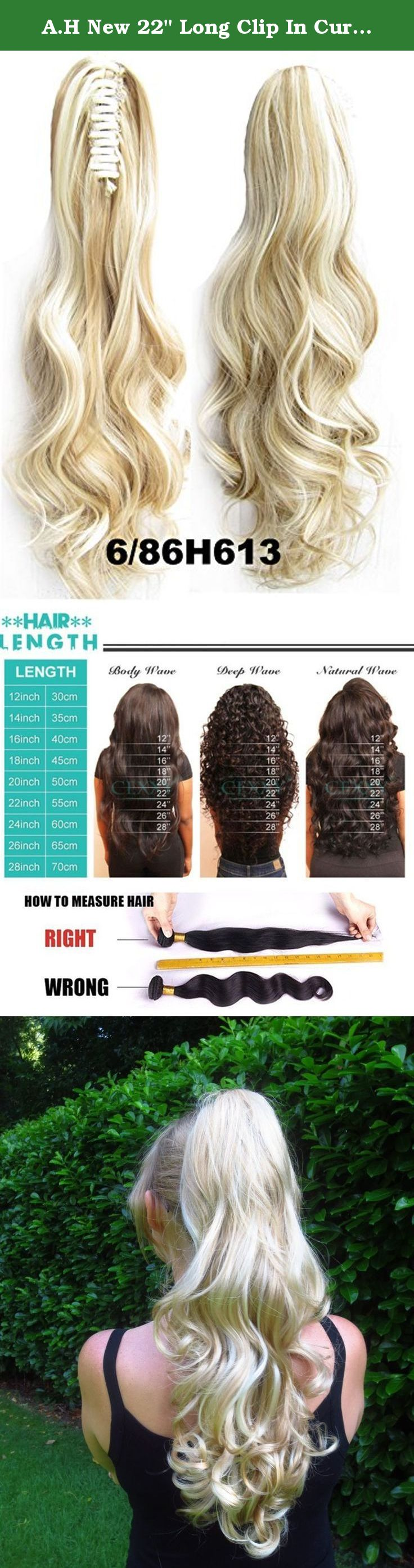 Ah new 22 long clip in curly pony tail synthetic human