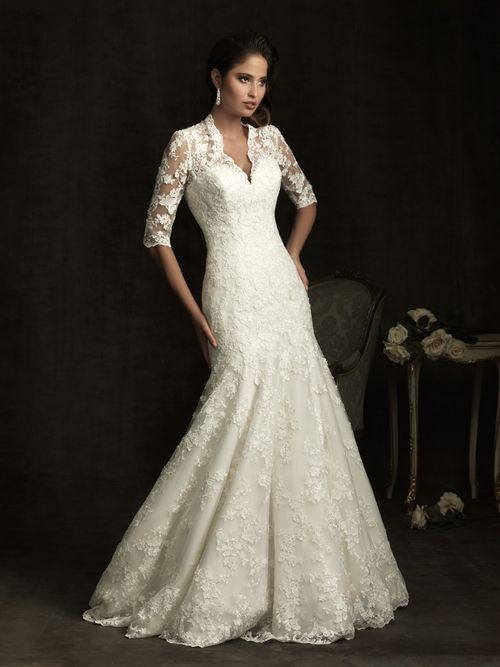 quarter sleeve wedding dress | Mermaid-floor-length-three-quarter ...