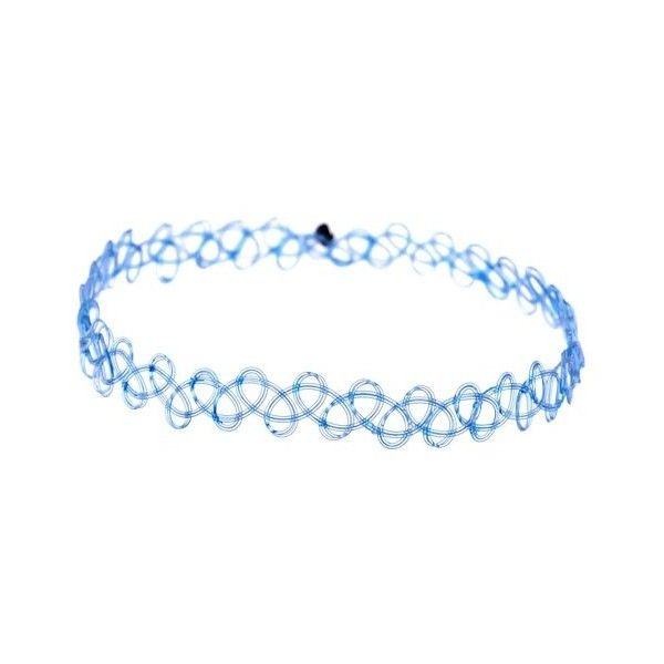 Jewellery of Lords Blue Vintage Stretch Tattoo Henna Choker Hippy... ($6.24) ❤ liked on Polyvore featuring jewelry, necklaces, tattoo choker necklace, tattoo choker, hippie necklace, vintage necklace and stretch tattoo choker