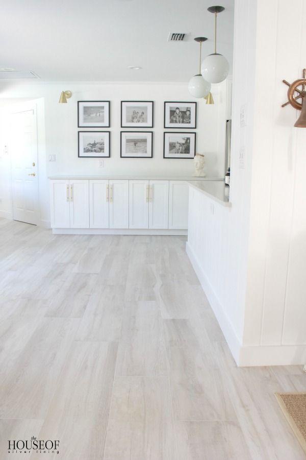 Beach cottage renovation reveal dining room beech tree - White laminate flooring for bathroom ...