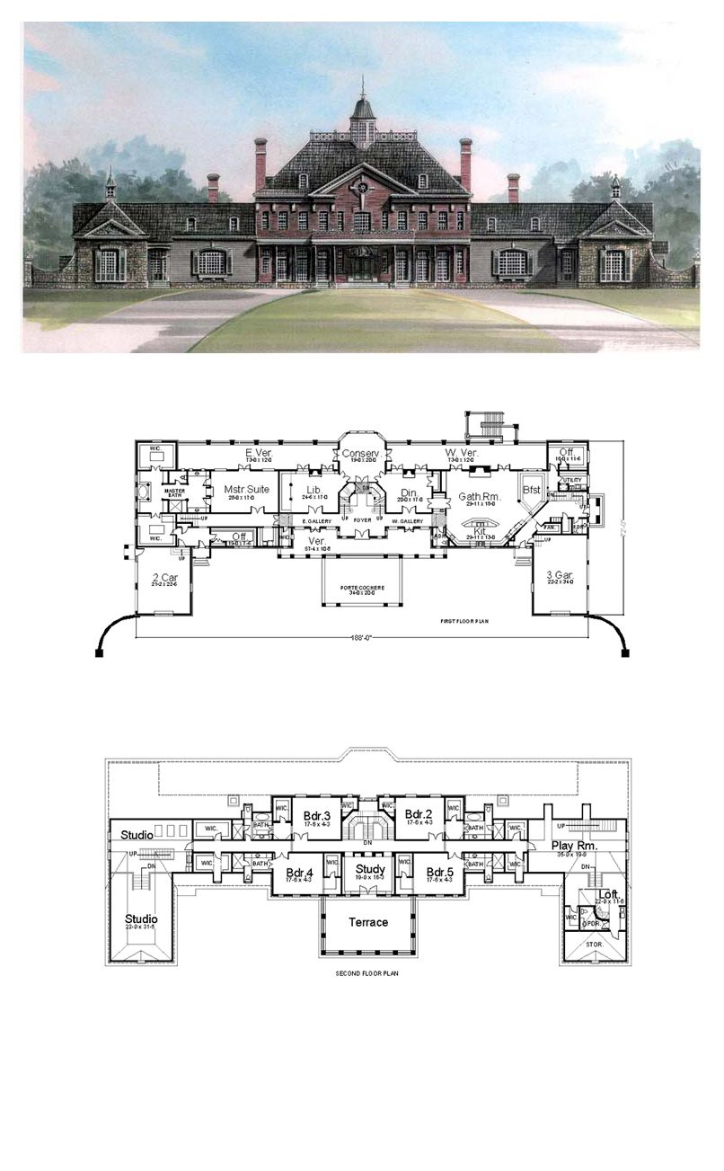 Greek Revival Style House Plan with 5 Bed 7 Bath 5 Car Garage