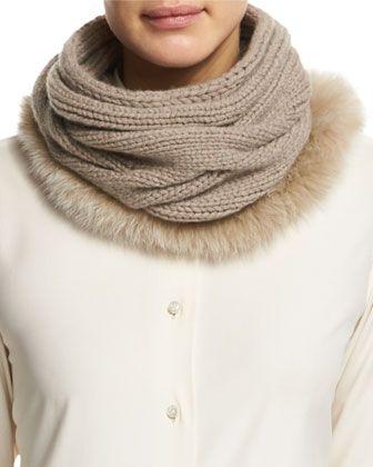 Cashmere Fur-Trim Collar, Cord Melange by Loro Piana at Neiman Marcus.