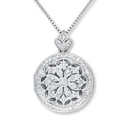 Locket Necklace 1 10 Ct Tw Diamonds Sterling Silver Kay In 2021 Locket Necklace Silver Jewelry Design Silver Jewelry Necklace