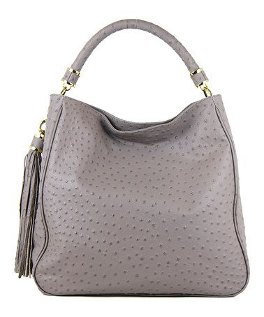 Look what I found on #zulily! Gray Ostrich-Embossed Hobo by Ivanka Trump #zulilyfinds