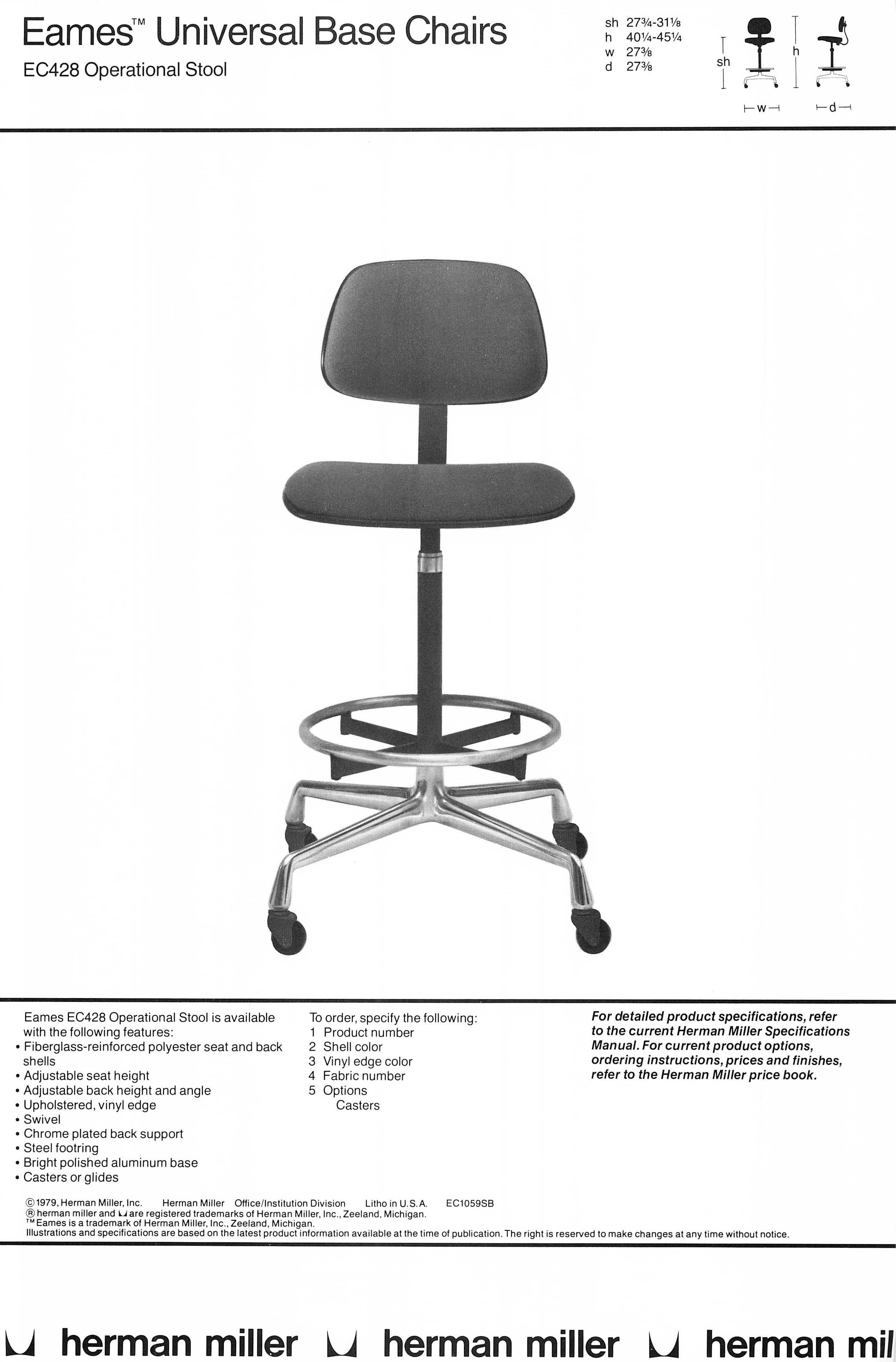 Swivel Chair Operations Rental Prices Eames Ec428 Operational Stool As Illustrated In A 1979 Hermanmiller Catalog
