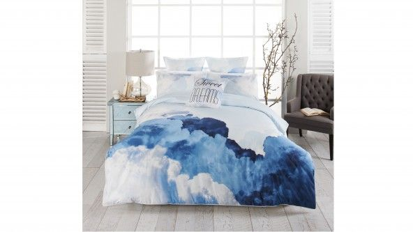 create a dreamlike haven with this gorgeous sky blue queen quilt cover set from linen house featuring a striking watercolour cloud print this stunning