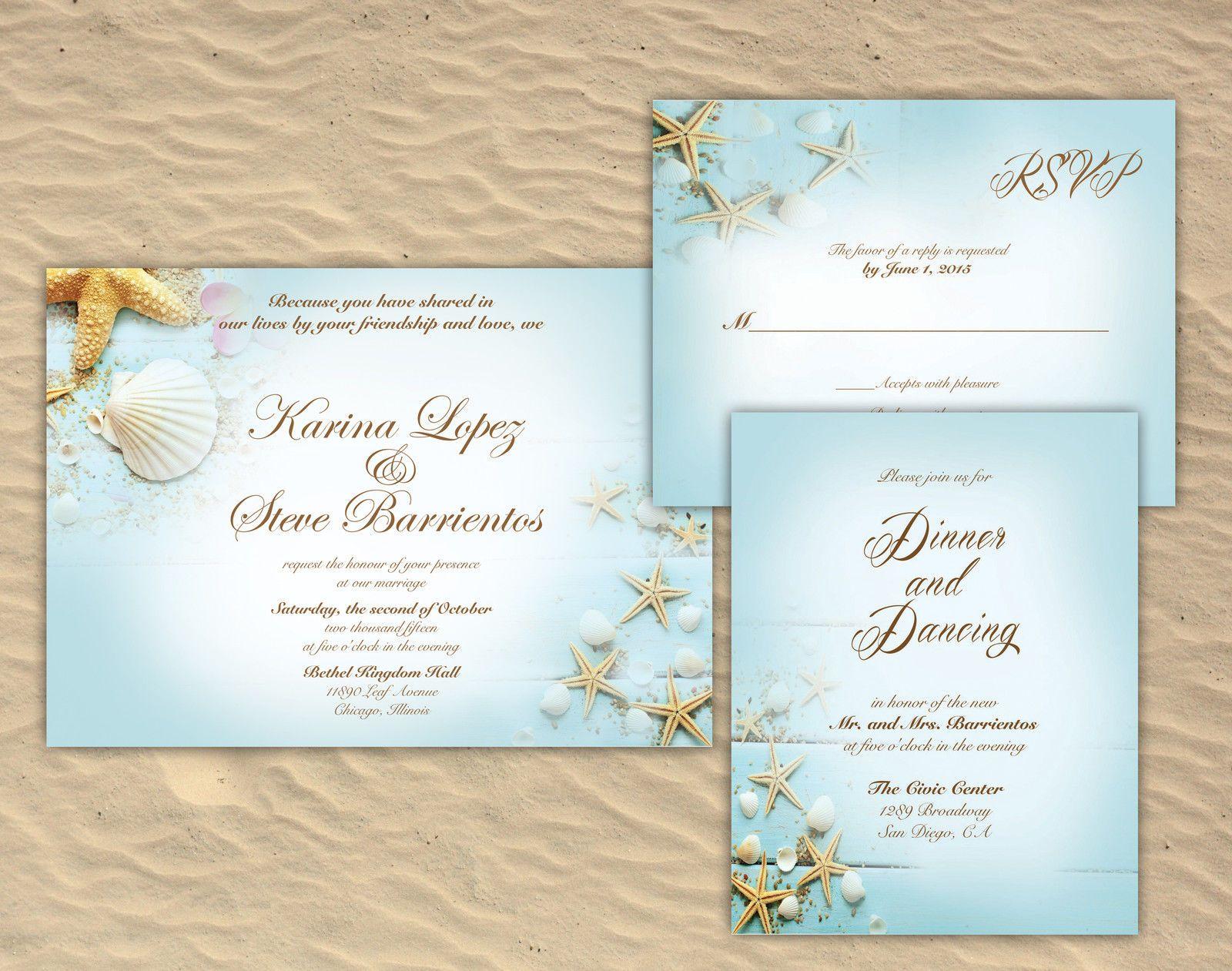 100 Personalized Custom Beach Starfish Ocean Sea Wedding Invitations Set  Summer | eBay (With images) | Wedding invitation sets, Wedding invitations,  Sea wedding
