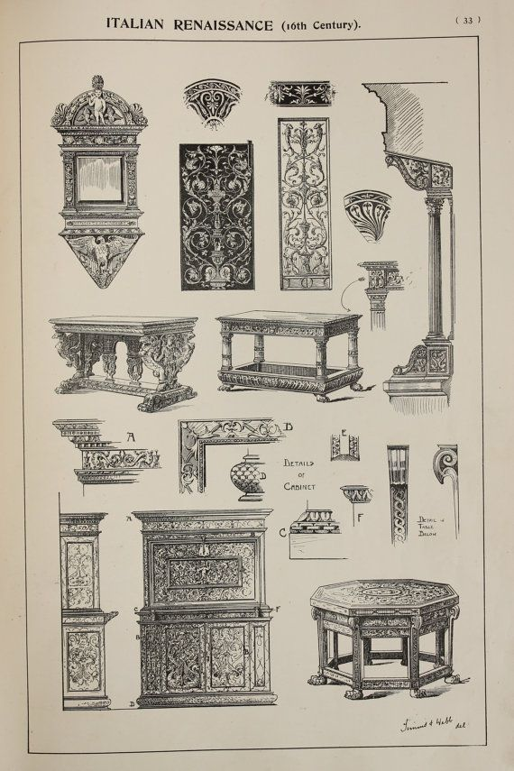 Italian Renaissance Furniture Designs Large Antique Black White Print Interior Design Arts And Crafts Antyki Meble Stolarstwo
