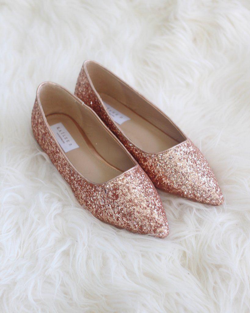 c41f009504e3 Women Glitter Shoes - ROSE GOLD Pointy Toe Rock Glitter Flats