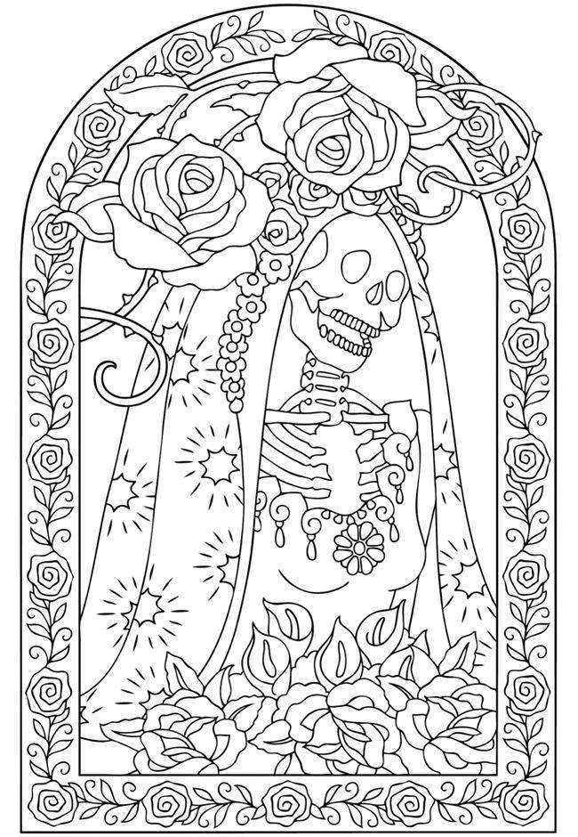 caveira com rosas desenhos | educação | Pinterest | Dover ...